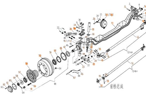 电动四轮车前桥总成结构图
